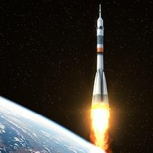 Décollage d'une fusée dans l'espace