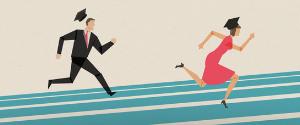 Illustration représentant deux personnages courant dans vers une destination